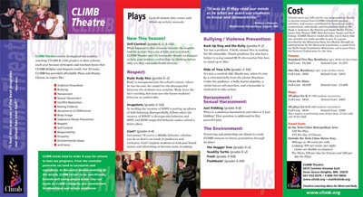 Side 1 of Climb Theatre brochure